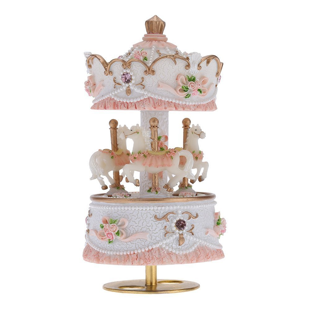 3-horse Carousel Music Box Melody Carrying You from Castle in the Sky(Laputa)(White)