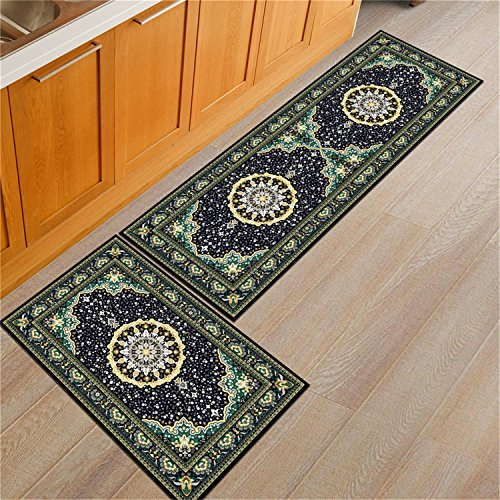 2 Piece Bedside Kitchen Bathroom Rugs Set Soft Washable Doormats for Entrance Way Rectangle Absorbent Non slip Carpet Welcome Rug Indoor D 2 pcs S 50x80cm &XL 50x160cm