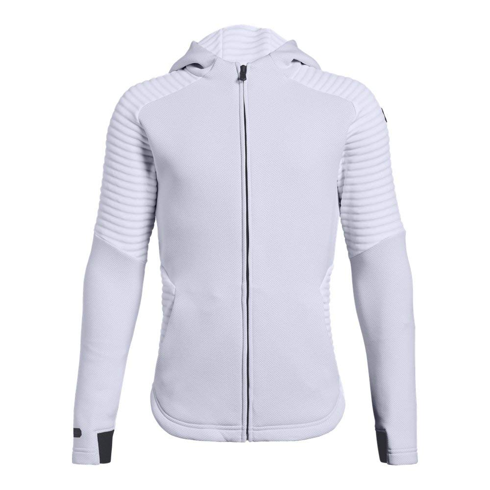 Under Armour Boys Move Full Zip, White (100)/Black, Youth Small by Under Armour