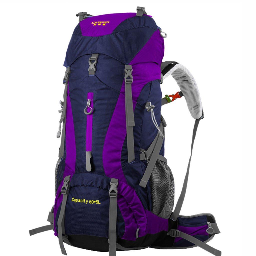 ZOUQILAI アウトドアバックパック 登山用バッグ 男女兼用 旅行 観光 バックパック 大容量 防水バッグ B07D3TC337 パープル