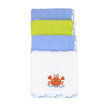 10 Count Crab//Blue Just Born Love to Bathe Woven Washcloth Set