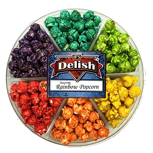 Gourmet Rainbow Popcorn Gift Tray 6 Section by Its Delish ()