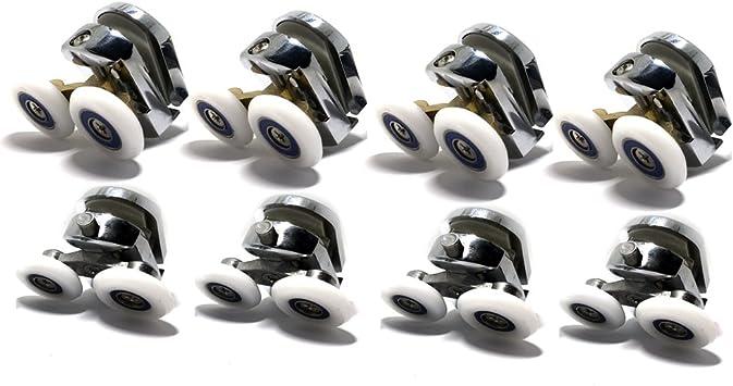 Repuesto ruedas para mampara de ducha cromo – 4 x Top & 4 x parte inferior – para cristales 4 – 6 mm: Amazon.es: Bricolaje y herramientas