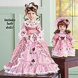 winston inc Mother Daughter Victorian Style Dress Pink Hat Floral Headband Certificate Porcelain Dolls Set