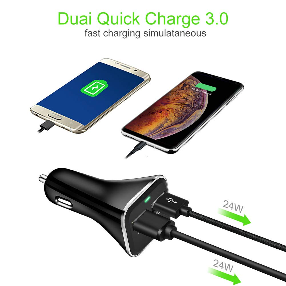 48W 6A Dual QC 3.0 Car Charger Compatible for iPhone 11 Pro,iPhone Xs Max,XR,X,8 Google Pixel 4 3 XL and More. iPad Pro,Samsung S10 // S9 // S8 // Note10 Quick Charge 3.0 Car Charger