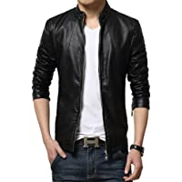 Gordania Men's Faux Leather Jacket(0_Black_0)