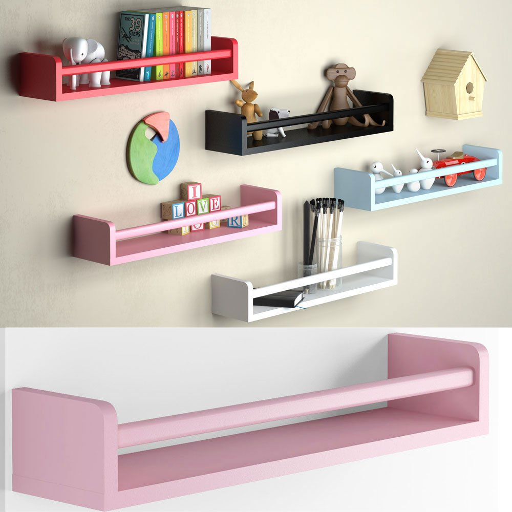 1 Light Pink Baby Nursery Room Wall Shelf Wood 17.5 Inch Ships Fully Assembled