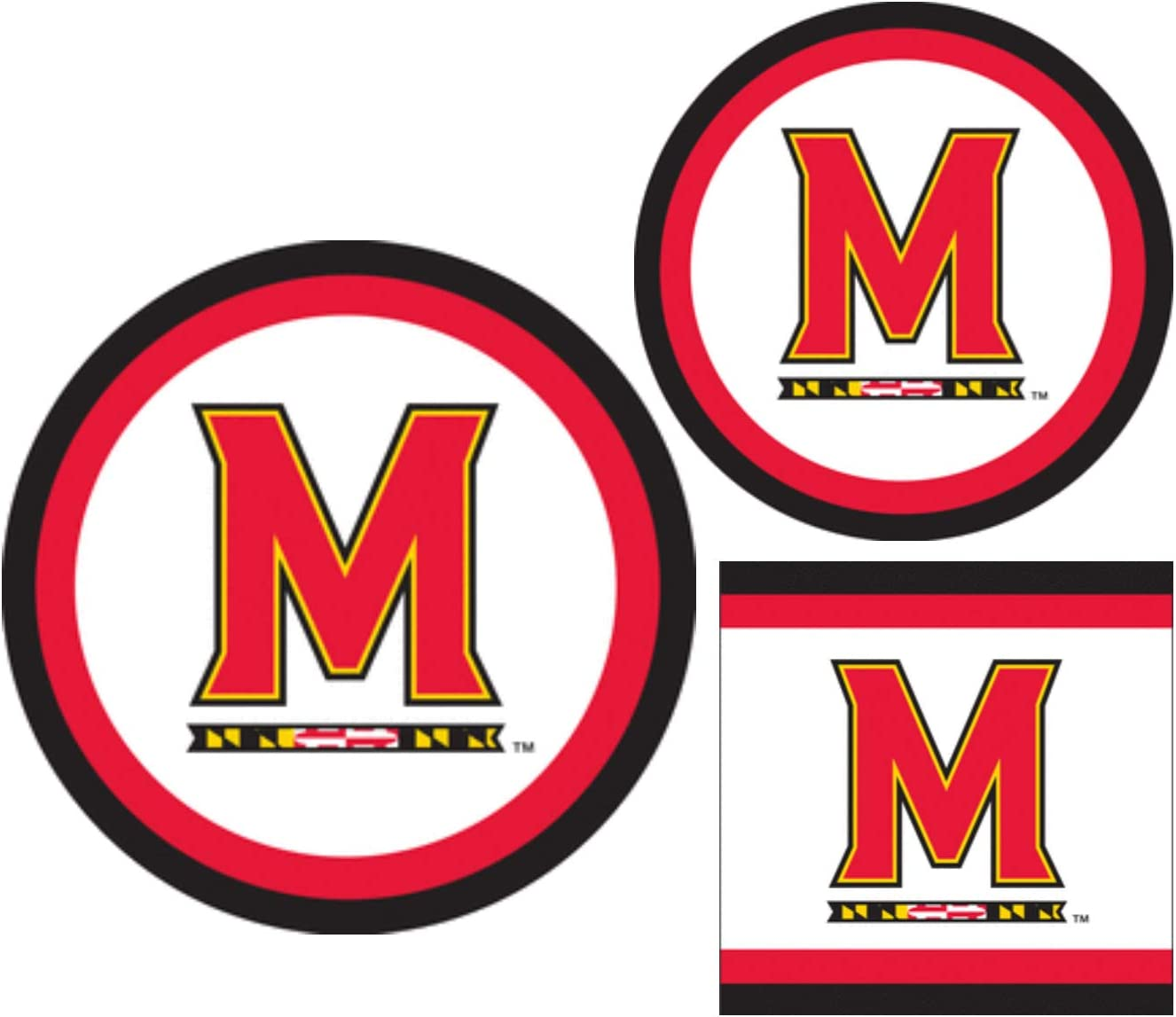 Maryland Terrapins Party Supplies - Bundle Includes Paper Plates and Napkins for 10 People