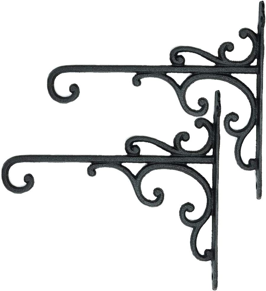 Sungmor Cast Iron Wall Hook Plant Hangers - Home & Garden Heavy Duty Hanging Bracket Plant Hooks - 2PC BLACK Decorative Wall Mount Hooks for Hanging Planter Pot Bird Feeder Birdcage Lantern Wind Chime