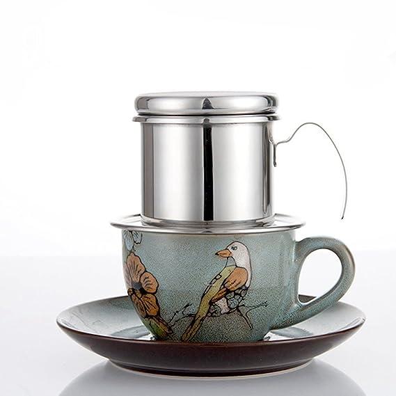 TOOGOO Cafe Percolador Acero inoxidable Cafe vietnamita Filtros de goteo Single Cup Cafe Drip Pot Brewer - Portatil sin papel para el uso al aire libre de ...