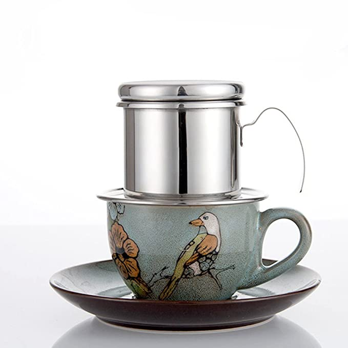 REFURBISHHOUSE Cafe Percolador Acero Inoxidable Cafe vietnamita Filtros de Goteo Single Cup Cafe Drip Pot Brewer - Portatil sin Papel para el Uso al Aire ...