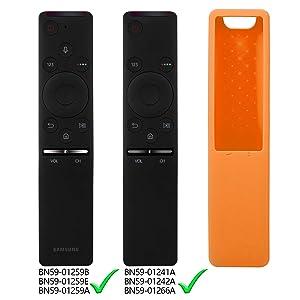 Rukoy Protecitve Case Cover Holder for Samsung Smart TV Remote Controller of BN59 Series, Kids-Friendly Anti-Slip Shockproof Anti-Lost With Hand Strap(Orange) (Color: Silicone Remote Case-Orange)