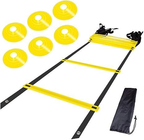 LYX Escalera ágil - 6 m 12 Secciones Sección Delgada Pasos Ajustables y Escalera de Entrenamiento Duradera Fútbol, Velocidad, incluida Escalera de Agilidad 25 Conos de Marcado Bolsa de Transporte: Amazon.es: Deportes
