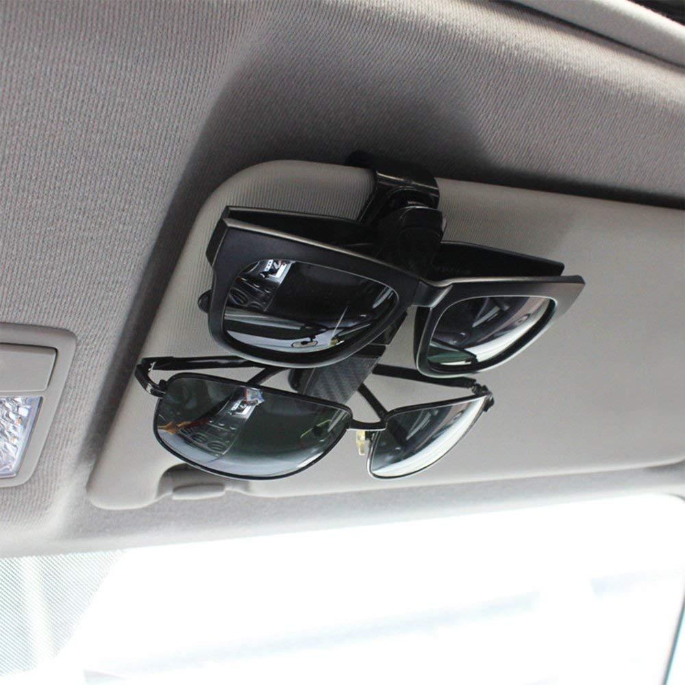 BRKURLEG Brillenhalter f/ür Auto Sonnenblende Clip 2 St/ück Doppelt Sonnenbrille Brillenhalterung mit Ticket-Kartensteckplatz,Aufh/änger Mount 180 /° Rotational Silber