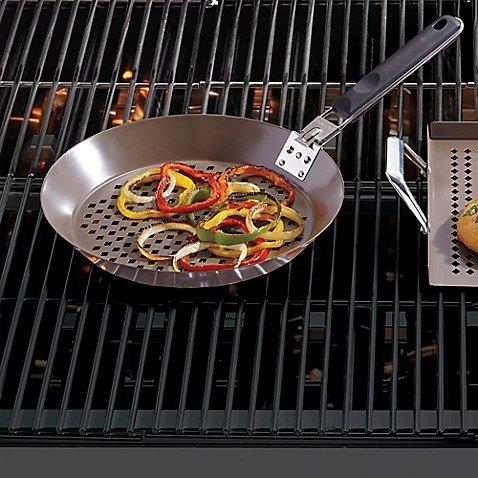 Just Grillin' Premium Ceramic Coated Grilling Skillet Removable Handle, Grey
