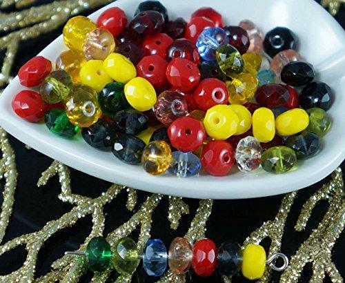 Multicolor Mix Czech Glass Faceted Rondelle Beads Rondelles Fire Polished Donut 7mm x 4mm 26pcs