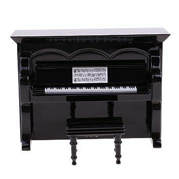 Prettyia 12th Dolls House Miniature Black Upright Piano Music Room