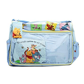 Disney Disney Baby Winnie The Pooh Blue Gingham Diaper Bag Infant Travel Accesso