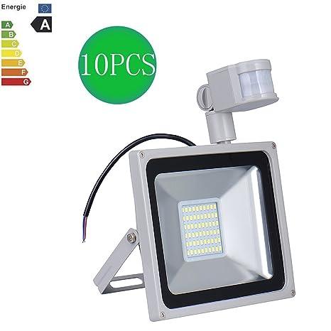 Bulary 10X50W Blanco Frío LED Foco Proyector Luz con PIR Sensor de Movimiento, Impermeable IP65