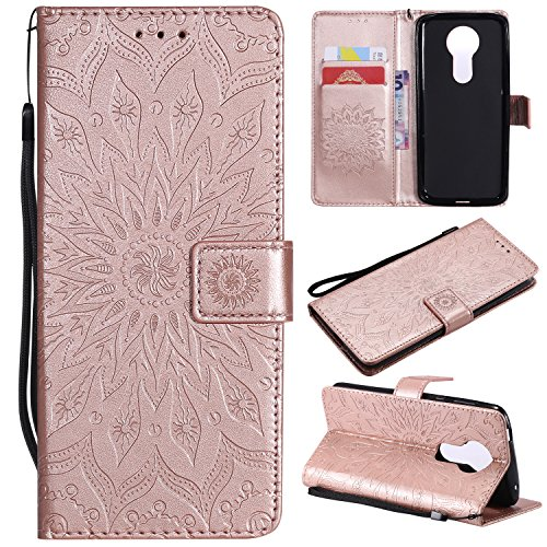 Price comparison product image A-slim Moto E5 Plus Case Moto E5 Supra Wallet Case, PU Leather Case Sun Flower Pattern Embossed Purse with Kickstand Flip Cover Card Holders Hand Strap for Motorola Moto E Plus 5th Gen Rose Gold