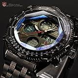 SHARK Mens Digital Quartz Wrist Watch Chronograph Sport Analog Stainless Steel