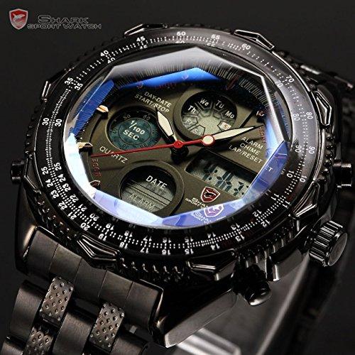 SHARK Mens Digital Quartz Wrist Watch Chronograph Sport Analog Stainless - Sunglasses Men Rent For For