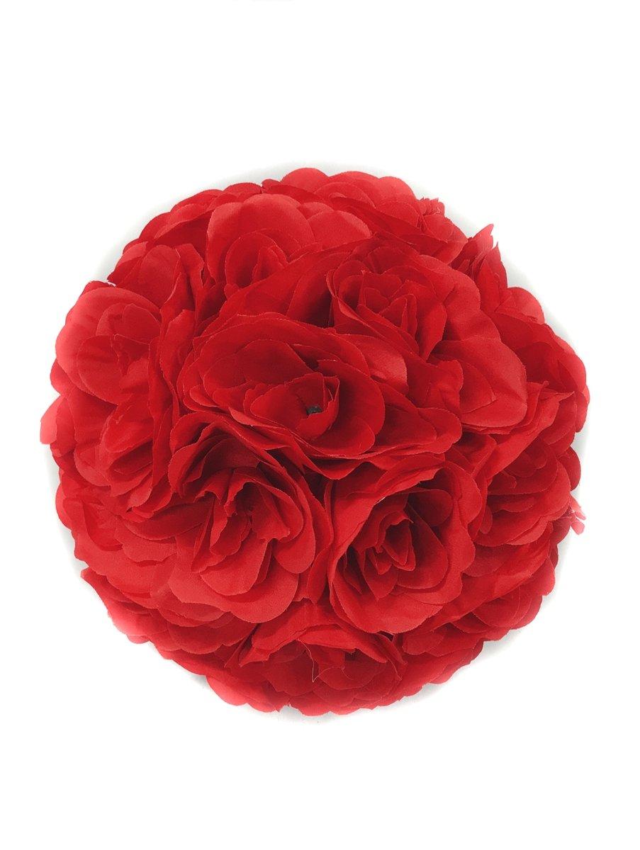 silk flower arrangements elegant 10 inch satin flower ball for wedding party ceremony decoration (red)