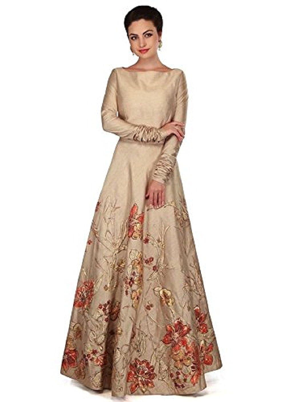 1d03d1914c0 Ethnic Vila taffeta Silk Embroidered Semi-Stitched Anarkali Gown ...