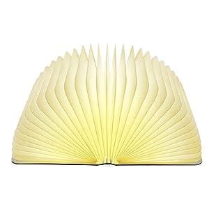 Lixada Libro Lámpara LED Luces Plegables de Madera, Booklight Decorativa Lámpara de Mesa, Tamaño Grande, 2500mAh, USB Recargable, 500 Lúmenes Brillo Mejorado
