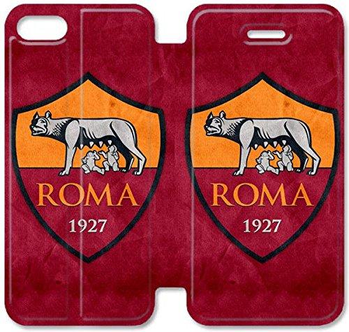 Flip étui en cuir PU Stand pour Coque iPhone 5 5S, bricolage 5 5S cellulaire Phone Coque Case Flip Pu en cuir Stand pour Coque iPhone 5 5S, bricolage 5 étui de téléphone cellulaire 5S As Roma Logo Lea