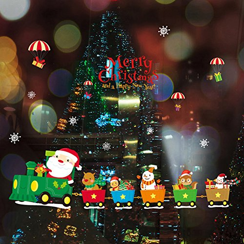 decalmile Christmas Train Window Clings Decal Wall Stickers Santa Claus with Snowman Animals Deer Snowflake Kids Room Decorations Shop Window Decor Holiday Celebration Presents (Merry Christmas)