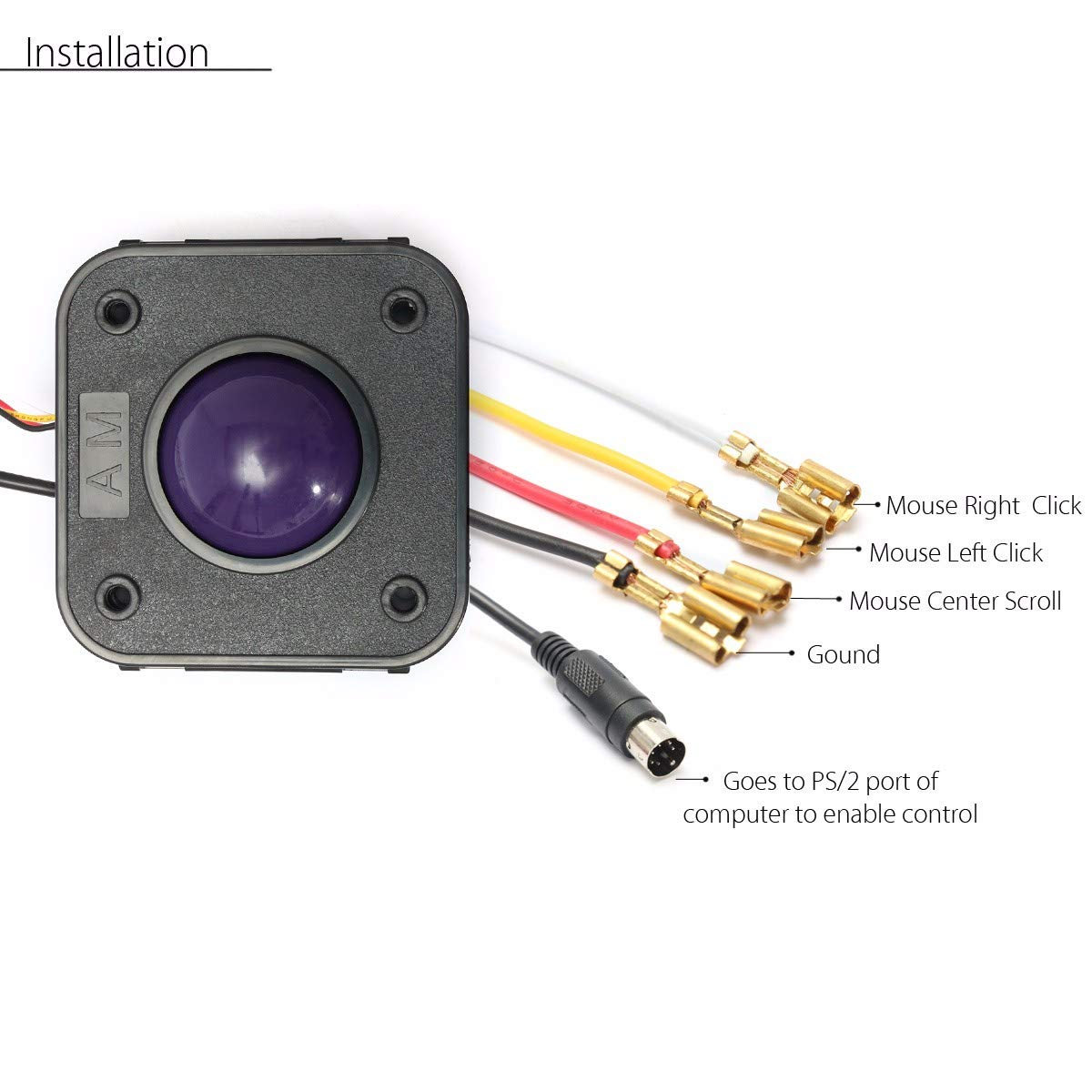 Atomic Market 2 1/4 Inch 2.25'' Purple Ball PS/2 PCB Connector Arcade Trackball Mouse for Jamma MAME Arcade