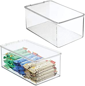 mDesign Plastic Stackable Kitchen Pantry Box for Cabinet, Refrigerator, Pantry, Counter, Food Storage Container, Attached Hinged Lid - Organizer for Coffee, Tea, Packets, Snack Bars, 2 Pack - Clear