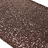 Liva Home Pack Of 15 Wedding 13 x 108 inch Sequin Table Runner Wedding Banquet Decoration (15, BROWN)