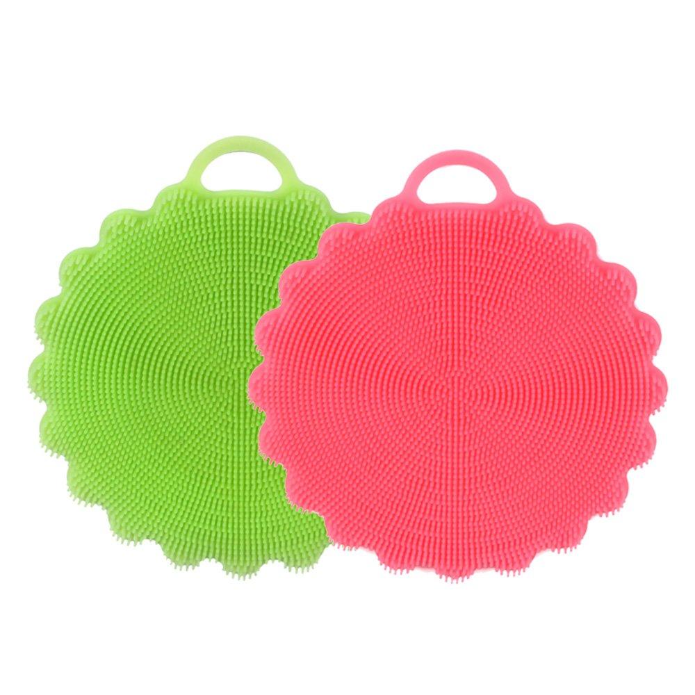 Food-grade Antibacterial Silicone Scrubber-Feihe Dishwashing Brush Dish Towel Scrubber Kitchen Tool for Dishwashing,Make up Brush Cleaner,Wash Fruit and Vegetable (Pink+Green)