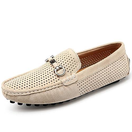 Yaer Mocasines de Cuero Clásico de Ante de Los Hombres, Luz Transpirable Hueco Casual Zapatos de Barco Mocasines: Amazon.es: Zapatos y complementos
