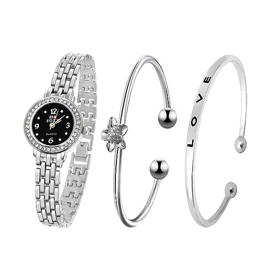 Souarts Womens Rhinestone Round Quartz Watch Bracelet Jewelry Set Silver Color (Silver Color Love Bracelet