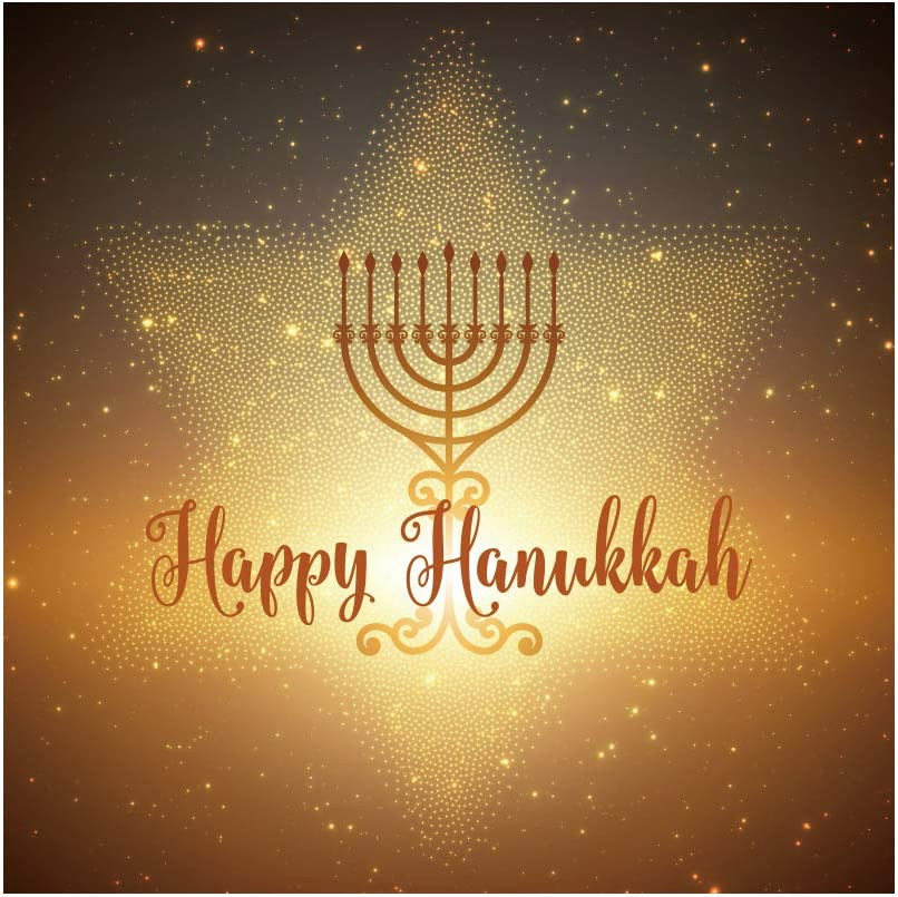 Hanukkah Backdrop 8x6.5ft Golden Star of David Photography Background Israel Festival Jewish Holiday Abstract Herbs Traditional Symbol Holy Light Bless Wishes Celebrate Photo Prop Banner