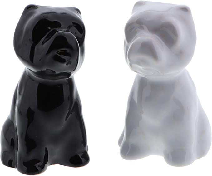 Salt and Pepper Shaker Set Patchwork Puppy and Patched up Kitty Set