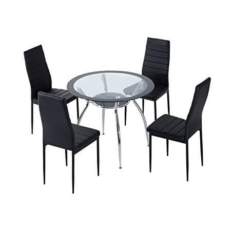HOMCOM 5pcs Dining Room Set Table Chairs Contemporary Modern Furniture Tempered Glass Black