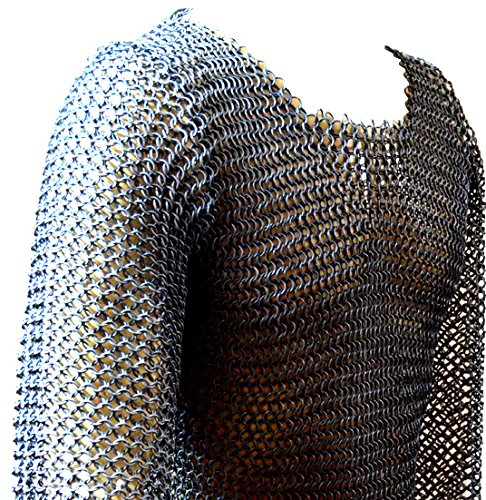 Allbeststuff Chainmail Haubergeon BUTTED MILD Steel Shirt X-Large Shirt Armor ABS