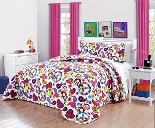 Girls Kids Quilts-FABIAN MONKEY Tween Teen Dream Coverlet. (Double) FULL SIZE Bedspread set -Peace, Hearts-Hot Pink, Turquoise Blue, Purple, Black and White (Heart Quilt)
