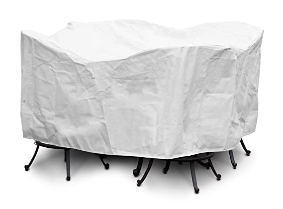 KOVERROOS SupraRoos 55251 Large Bar Set Cover with Umbrella Hole, 84-Inch Diameter by 40-Inch Height, White