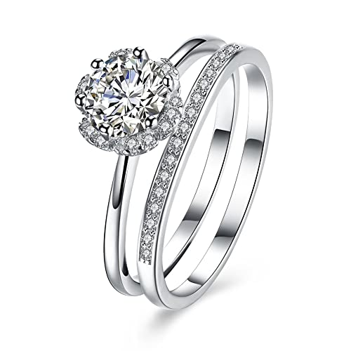 1.20 Ct Diamond Engagement Ring Set 925 Sterling Silver Wedding Band Set Size M Fine Rings