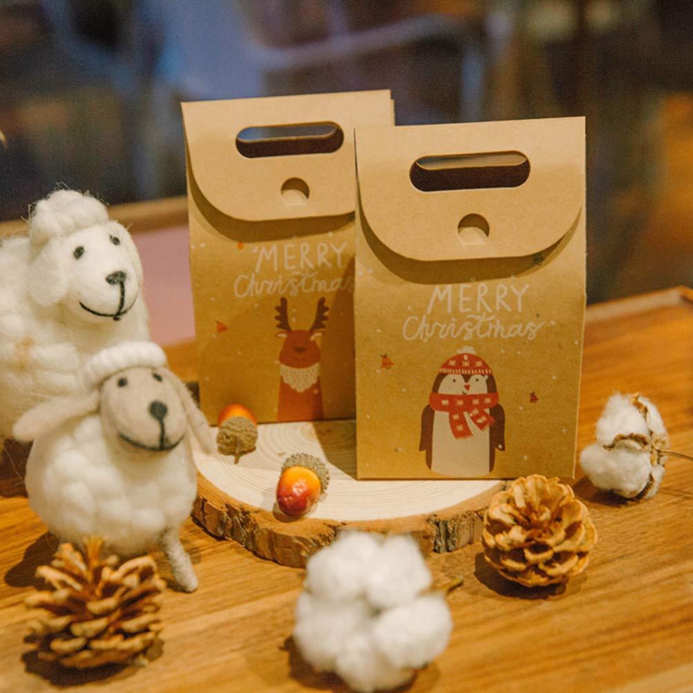 Cabilock 24pcs retro candy cookies sacchetto di carta kraft con manico confezioni regalo di natale scatole bomboniere porta festosa cioccolatini cartone animato