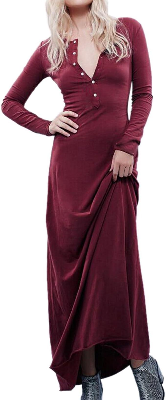 Latinaric Maxi Lang Baumwolle Kleid Lang Arm Elegant Hauteng