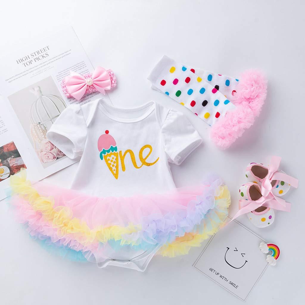 Jarsh 4PCS Newborn Baby Girls Princess Letter Birthday Print Tutu Dress Outfits Set