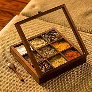 ExclusiveLane-Sheesham-Wooden-Table-Top-Masala-Dabba-Containers-Jars-Wooden-Masala-Box-for-Kitchen-Masala-Dani-Wooden-Spice-Box-Set-for-Kitchen-with-Spoon-9-Small-Partitions-Non-Detachable-Brown