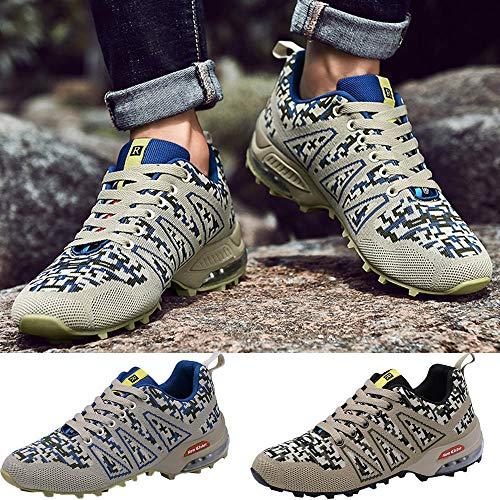 Escalada Viajes Paseos E Botas Impermeable De Cuero Azul Hombres Trekking Para Zapatos Senderismo Zarlle Por Malla Montaña RxA7Agw8