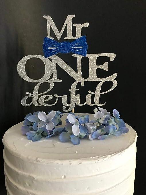Decoración para tarta de Mr Onederful con lazo para niños ...